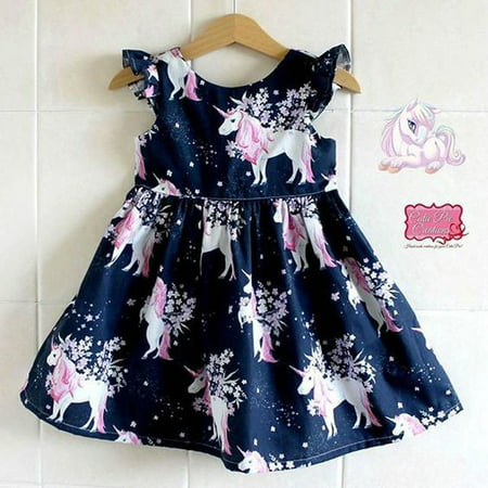Fashion Cute Toddler Infant Girl floral animal Unicorn pattern Summer Dress One-Piece