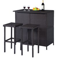 3-Pc. Costway 3PCS Rattan Wicker Bar Set Patio Outdoor Table & 2 Stools (Brown)