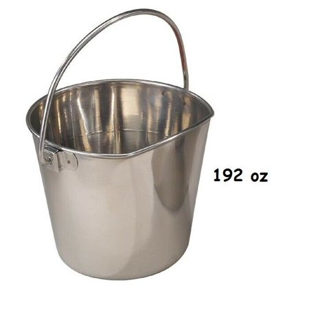 Flat Sided Pail (Flat Sided Hanging Feeding Pail Snag Free Heavy Duty Stainless Steel Choose Size (192oz / 6qt) )