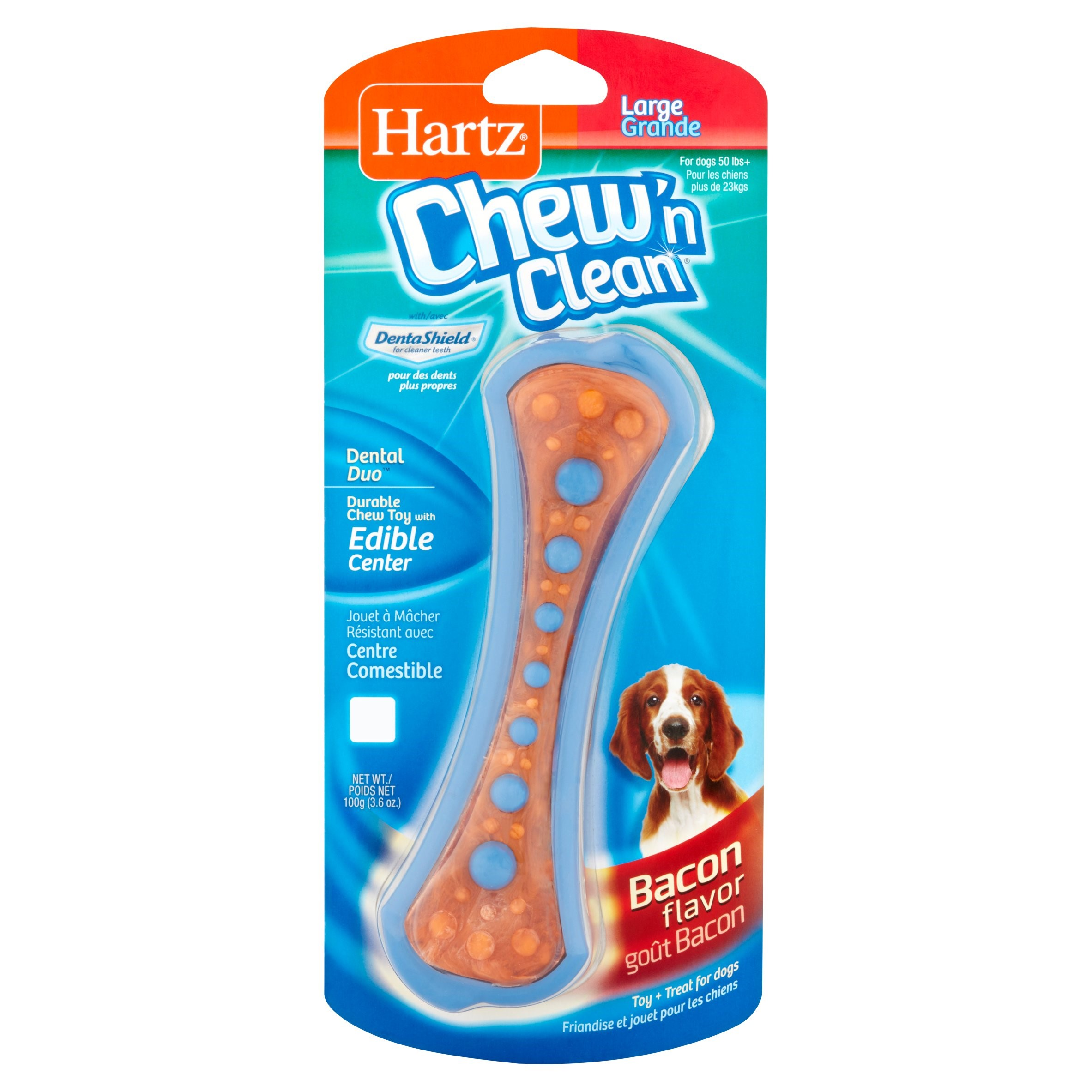 Hartz Chew-N-Clean with DentaShield Bacon Flavor Durable Chew Toy, Large