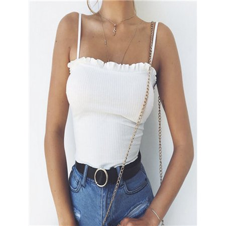Ruffle Cami Garter (Fashion Womens Ruffles Tank Top Vest Off Shoulder Halter Blouse T-Shirt Camis )