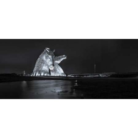 The kelpies horse statue at the Helix park in Falkirk  Scotland Canvas Art - Assaf Frank (24 x 48)