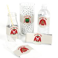 Ugly Sweater - DIY Party Supplies - Holiday & Christmas Party DIY Wrapper Favors & Decorations - Set of 15