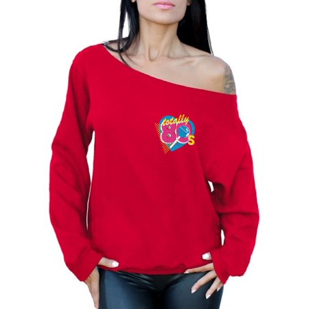 Awkward Styles Totally 80's Pocket Off the Shoulder Sweatshirt 80s Accessories Retro Sweater for Women 80's Costume Tops 80s Women's Retro Party Outfit 80's Slouchy Sweatshirt 80's Clothes for Her - 80's Halloween Outfits