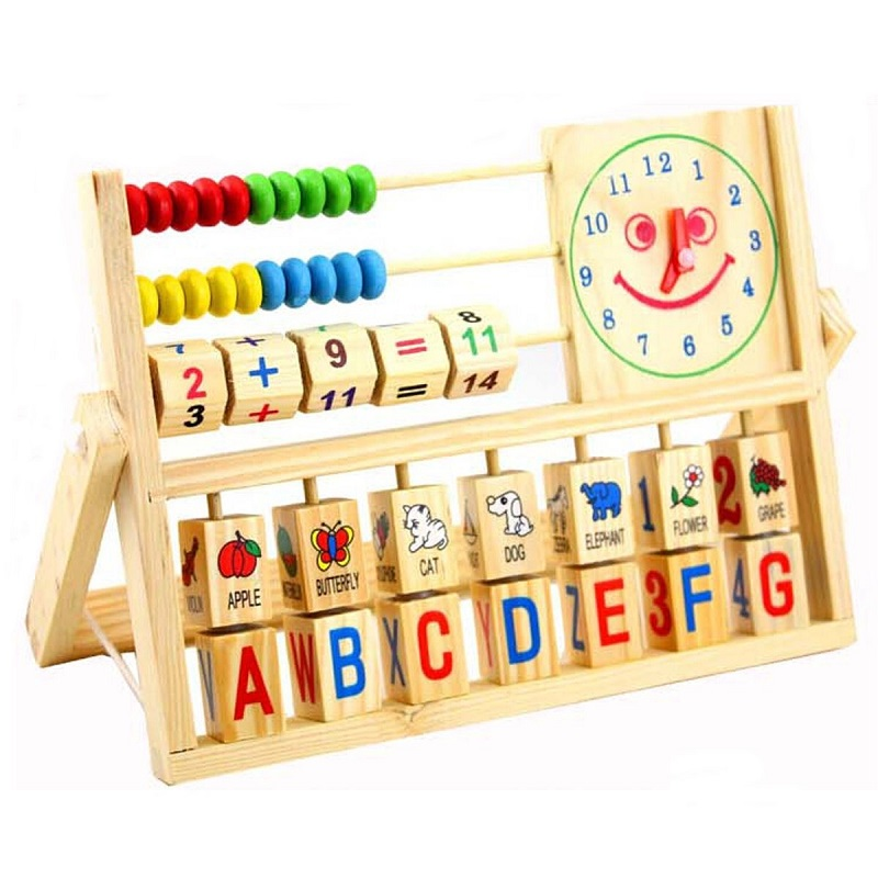 Wooden Teaching Tool Math Number Versatile Flap Abacus Calculation Wooden Educational Toy