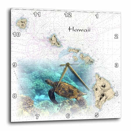 3dRose Print of Hawaiian Islands Chart With Sea Turtle, Wall Clock, 13 by