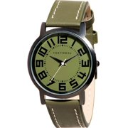TOKYOBay Mens Carbon Analog Stainless Watch - Green Leather Strap - Green Dial - T157-GR