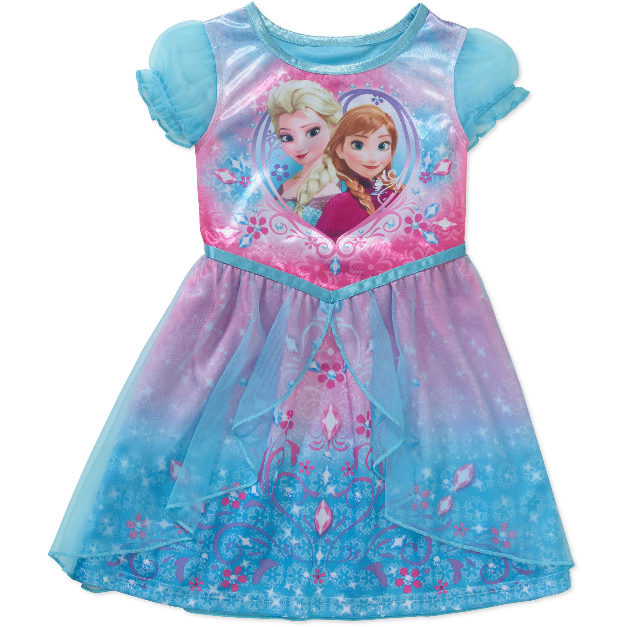 Disney Frozen Baby Toddler Girl Short Sleeve Fantasy Nightgown ...