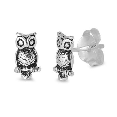 Owl Stud Earrings Sterling Silver