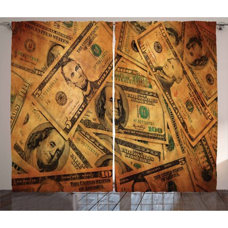 Money Curtains 2 Panels Set  Grunge Style Background With Fiver Sawbuck And Century Note Important Figures  Window Drapes For Living Room Bedroom  108W X 63L Inches  Pale Green Brown  By Ambesonne