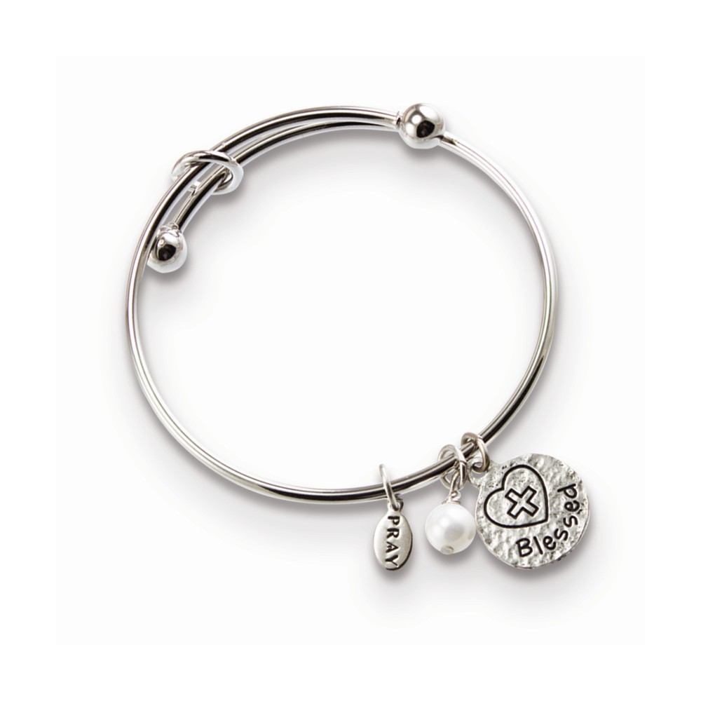 Silver-tone Blessed Charm Communion Bangle