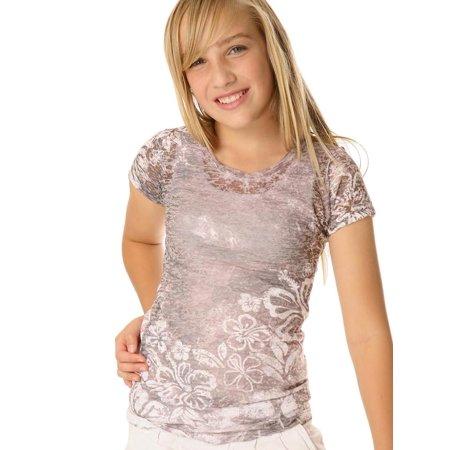 Kavio Girls 7-16 BurnOut Hibiscus Sblmtn Crw Neck S/S, Style GAP0035