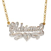 """Personalized Sterling Silver or 14k Gold-Plated Nameplate Necklace with Beading and Rhodium, 18"""" Silver Plated Figaro Chain"""
