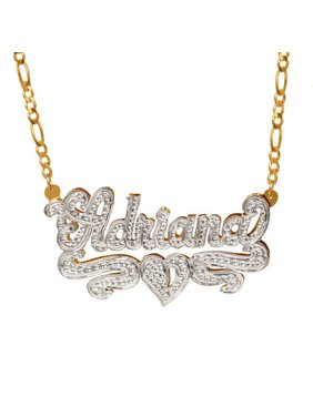 "Personalized Sterling Silver or Gold Plated Nameplate Necklace with Beading and Rhodium, 18"" Silver Plated Figaro Chain"