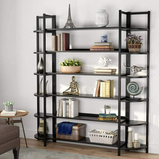 Tribesigns Large Industrial Triple Wide 6-Shelf Bookcase, Modern Open Storage Organizer Bookshelves Display Rack Etagere Shelves with Sturdy Metal Frame for Home Office Living Room
