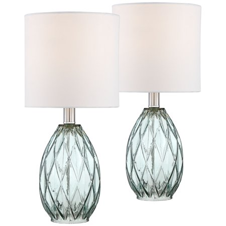 360 Lighting Rita Blue-Green Glass Accent Table Lamp Set of 2