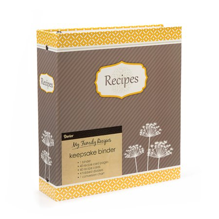 recipe binder yellow floral 40 pages 40 cards 4 tabs walmart com