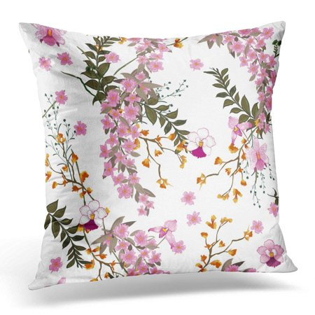 ARHOME Beautiful Blooming Floral in The Many Kind of Wild Flowers Botanical Motifs Scattered Random for Prints Throw Pillow Case Pillow Cover Sofa Home Decor 16x16 Inches ()