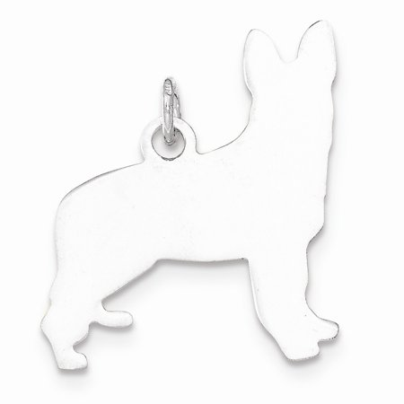 Solid 925 Sterling Silver Toni Tails Engravable Small German Shepherd Disc Charm Pendant Shepherd Sterling Silver Charm