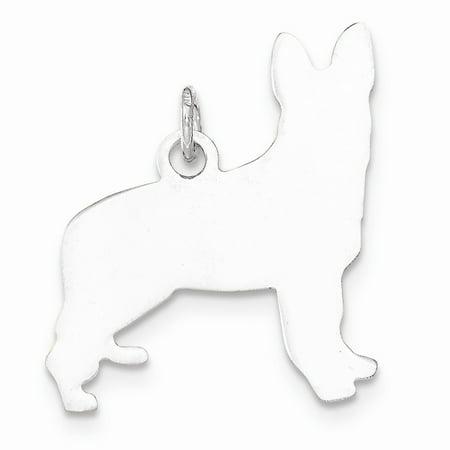 Sterling Silver Toni Tails Engravable Small German Shepherd Dog Disc Charm Pendant Shepherd Sterling Silver Charm