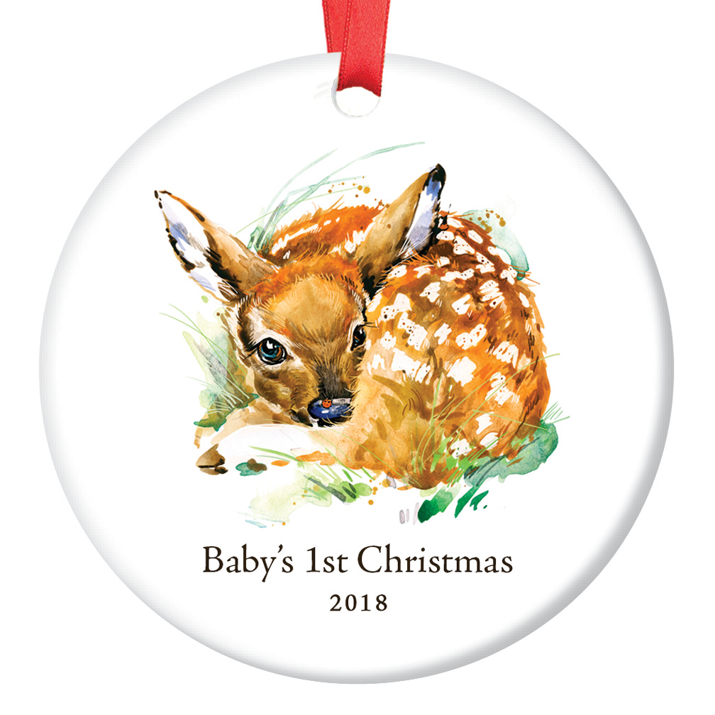 "2018 Baby Boy's First 1st Christmas Ceramic Keepsake Ornament Cute Deer Fawn Newborn Son Infant Male Child 3"" Flat Porcelain Holiday Tree Collectible with Red Ribbon & Free Gift Box 