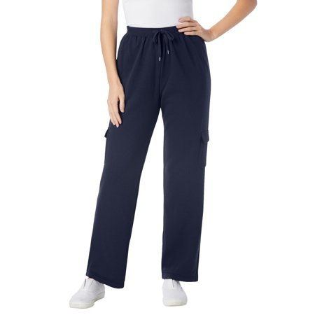 Woman Within Women's Plus Size Tall Better Fleece Cargo Sweatpant Pant