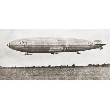 The R34 British Rigid Airship In 1919 First Aircraft To Make An East To West Crossing Of The Atlantic Ocean From The Story Of Seventy Momentous Years Published By Odhams Press 1937 Posterprint