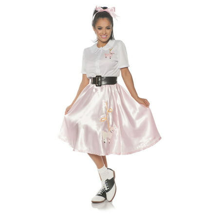 Sock Hop Womens Adult 50S Grease Pink White Halloween Costume