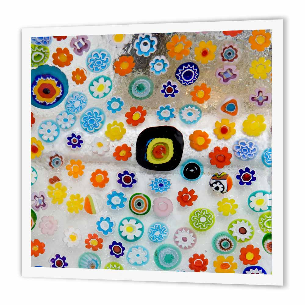 3dRose Italy, Venice, Millefiori glass abstract - EU16 BJA0694 - Jaynes Gallery, Iron On Heat Transfer, 10 by 10-inch, For White Material