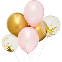 """36 Packs Pink and Gold Foil Confetti Latex Balloons 12"""" for Party Bridal Shower"""
