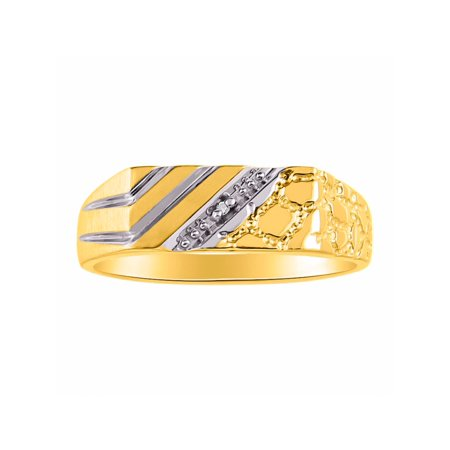 Mens 1/2 Nugget Diamond Ring Sterling Silver or Yellow Gold Plated Silver CCSL-MR3104DY