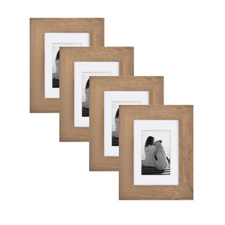Mutt Mat - DesignOvation - Museum Wooden Traditional Picture Frame Set with Mats for Customizable Wall Display, 5x7 matted to 3.5x5, Rustic Brown, 4 Pack