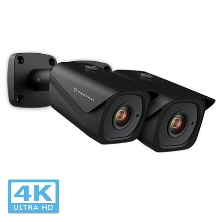 2-Pack Amcrest UltraHD 4K (8MP) Bullet POE IP Camera, 3840x2160, 131ft NightVision, 2.8mm Lens, IP67 Weatherproof, MicroSD Recording, Black (2PACK-IP8M-2496EB)(2018 Firmware) (Lens Bullet)