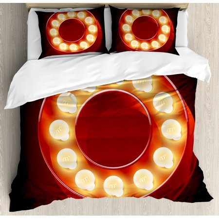 Letter O King Size Duvet Cover Set  Entertainment World In Vegas Theme Vintage Casino Nightclub Theater Typeset  Decorative 3 Piece Bedding Set With 2 Pillow Shams  Ruby Yellow Black  By Ambesonne