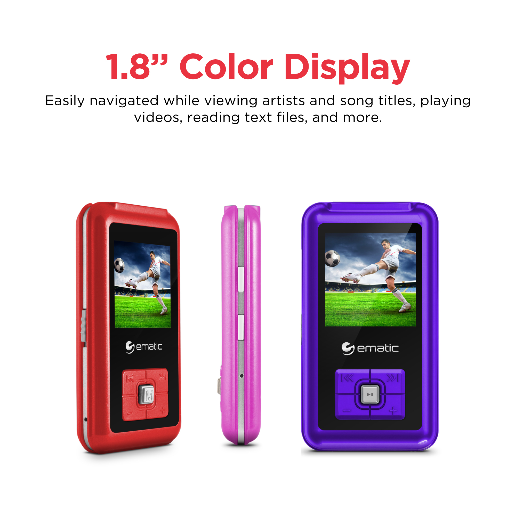 Ematic 1 8 8gb Mp3 Video Player With Voice Recording Radio