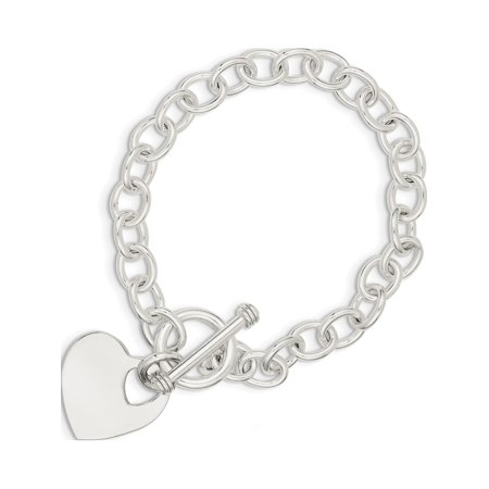 - 925 Sterling Silver Engraveable Heart Disc on Fancy Link Toggle Bracelet