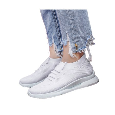 Women's Hollow Lace Up Sneakers Jogging Breathable Sport Mesh Shoes