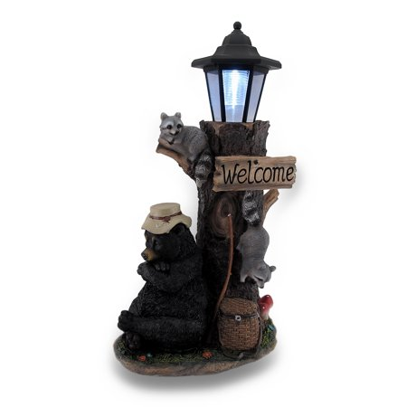 Lazy Days of Summer Black Bear and Friends LED Solar Lantern Welcome Sign ()