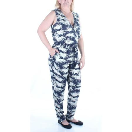 d3fd3a289be6 RACHEL ROY - RACHEL ROY Womens Navy Tie Floral Sleeveless V Neck Jumpsuit  Size  L - Walmart.com