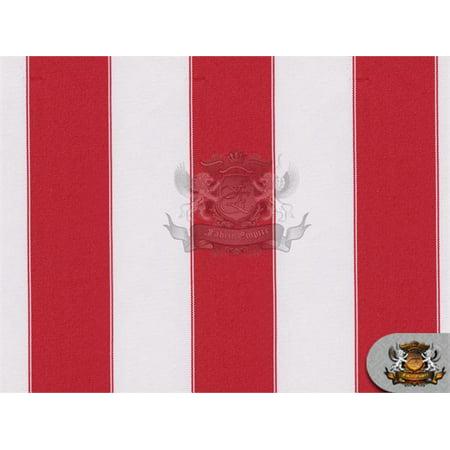 Indoor/Outdoor Waterproof Bordered Deck Stripe RED WHITE Fabric / 60