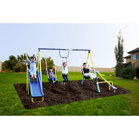 Sportspower Outdoor Super First Metal Swing Set with Trapeze, Teeter-Totter, and 6ft Heavy Duty Slide ()