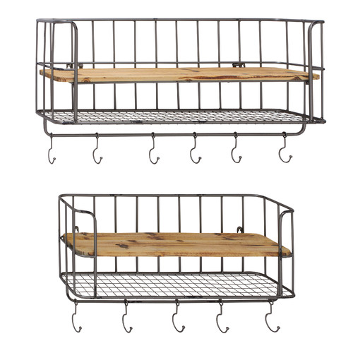 Woodland Imports 2 Piece Metal Wood Wall Shelf Hook Set
