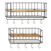 Cole & Grey 2 Piece Metal and Wood Wall Shelf Hook Set