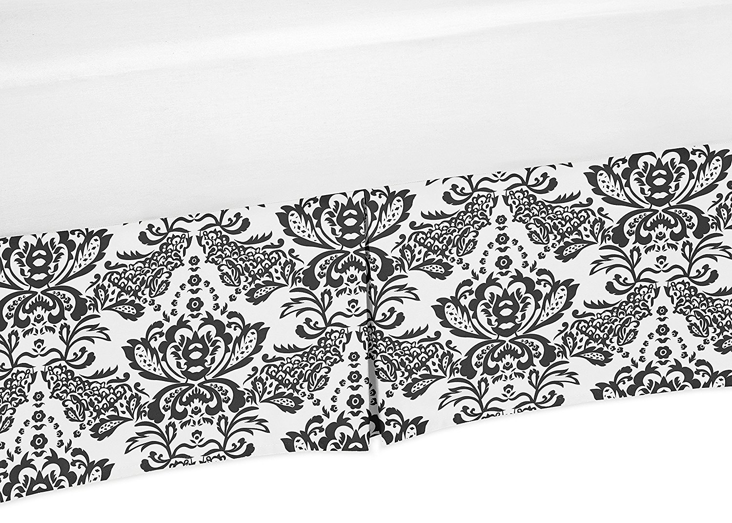 Black and White Damask Crib Bedskirt Dust Ruffle for Girls Sophia Collection Baby Bedding Sets by Sweet Jojo Designs