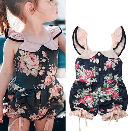 - Toddler Kids Baby Girl Summer Clothes Flower Ruffle Romper Bodysuit Jumpsuit Outfits Sunsuit