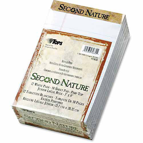 "TOPS Second Nature Recycled Note Pads, Legal/Margin Rule, 5"" x 8"", White, 50-Sheet, 12-Pack"
