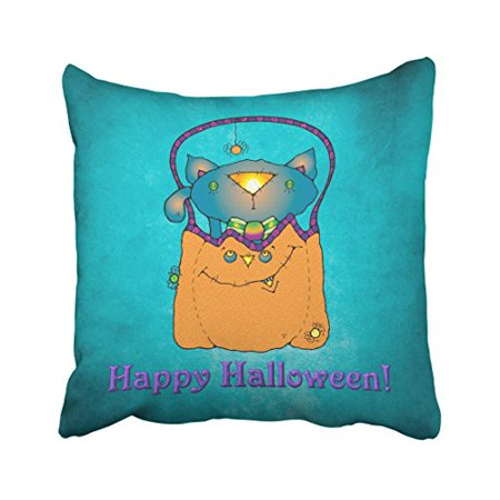 Halloween Pumpkin Cartoons (WinHome Cute Cartoon Happy Halloween Cat In Pumpkin Watercolor Polyester 18 x 18 Inch Square Throw Pillow Covers With Hidden Zipper Home Sofa Cushion Decorative)