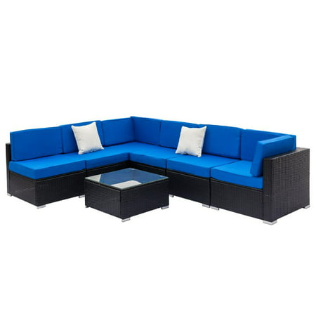 Ktaxon 7pcs Outdoor Patio Garden Rattan Furniture Sectional Rattan Wicker Sofa Set with Blue Cushions ()