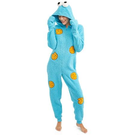 Sesame Street Women's and Women's Plus Cookie Sherpa Union Suit - Halloween Underwear Womens