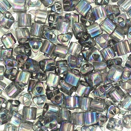 Size 8 Toho Triangle Beads, Transparent Gray AB (1 ounce)